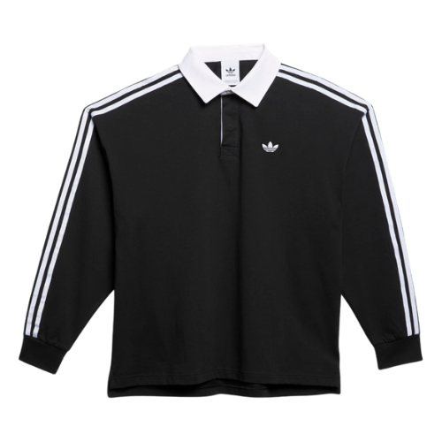 Adidas Solid Rugby Jersey Black/White | 1991 Skateshop | Fremantle WA