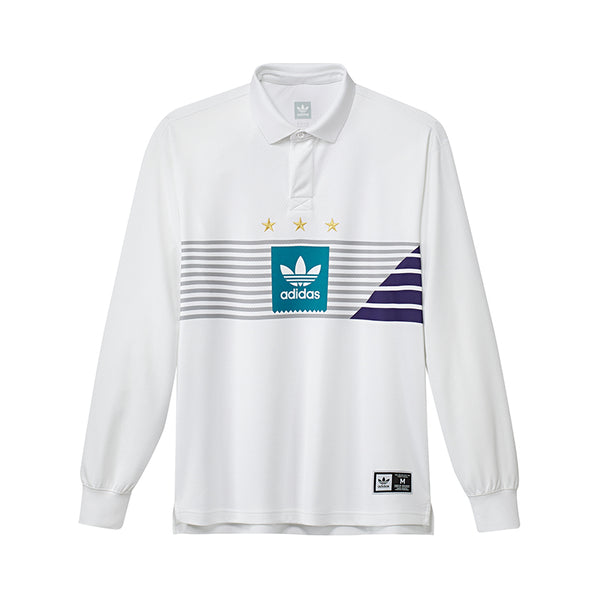 Adidas ELVTD L/S Rugby Shirt White/Grey Two F17/Active Teal/Collegiate Purple