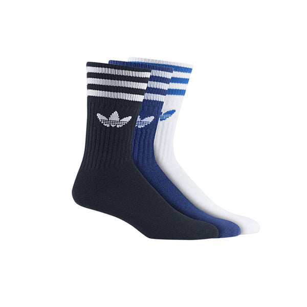 Adidas Solid Crew Socks 3 Pack Navy/Royal/White