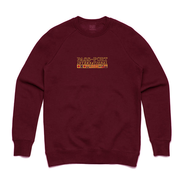 PassPort International Embroidery Sweater Maroon