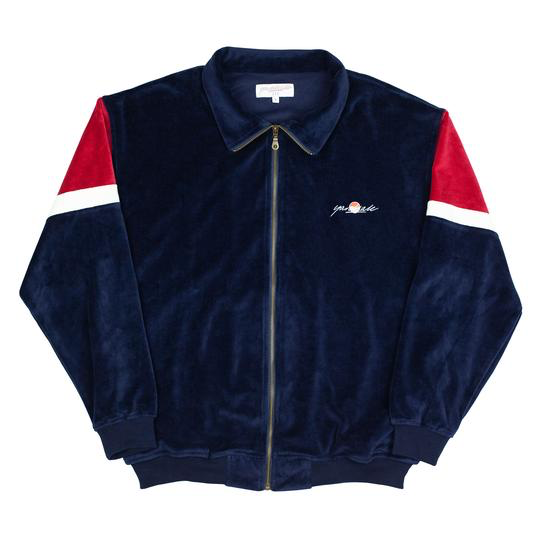 Yardsale Velour Track Top Navy/Red