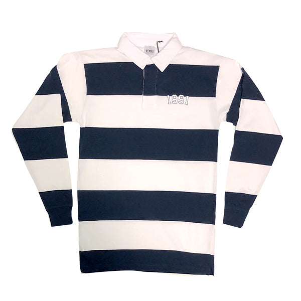 1991 Striped Rugby Polo L.S Navy/White S19