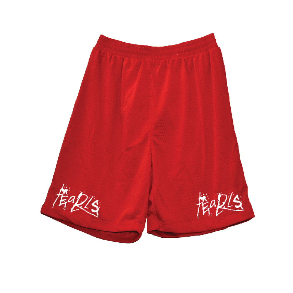 Pearls Scratch Basketball Shorts Red