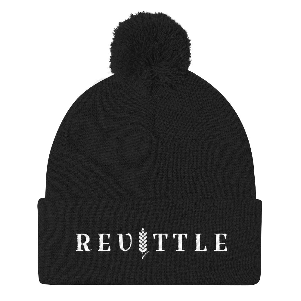 Revittle Pom Pom Knit Cap White Logo | Revittle