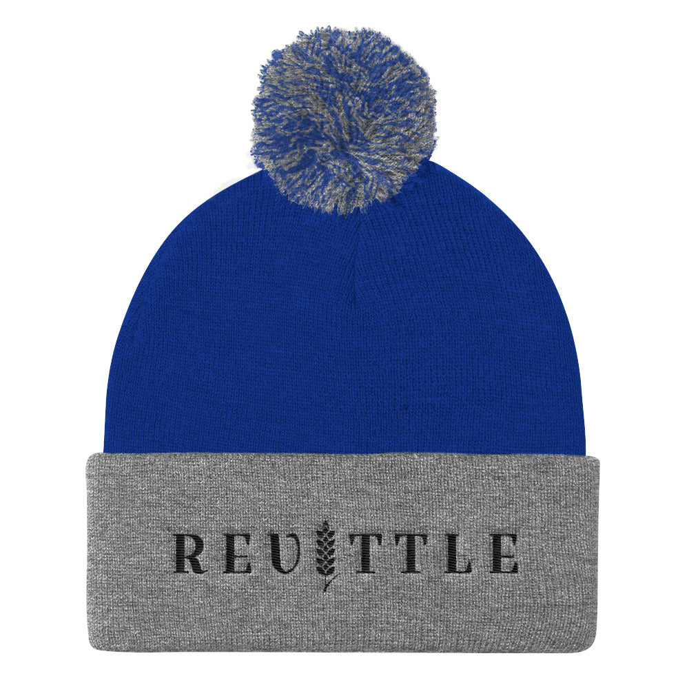 Revittle Pom Pom Knit Cap Black Logo | Revittle