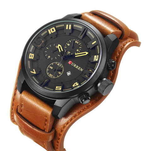 Quartz Watch for Men with Leather Strap - Men's Leather Strap Watches - ClubLid.com