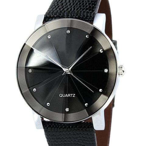 Men's Stainless Steel Quartz Watch with Leather Strap - Club Lid