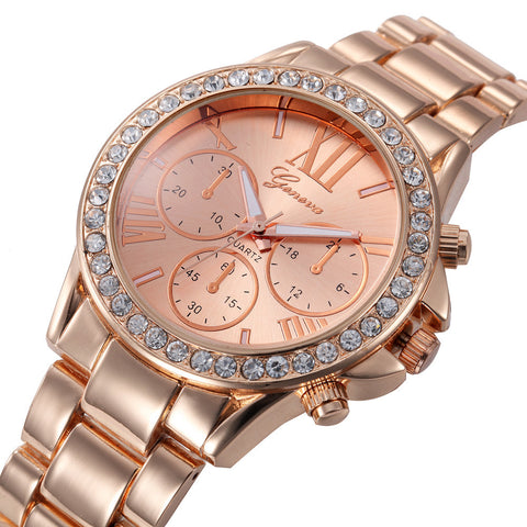 Women's Rose Gold, Gold & Silver Luxury Quartz Watch With Steel Band