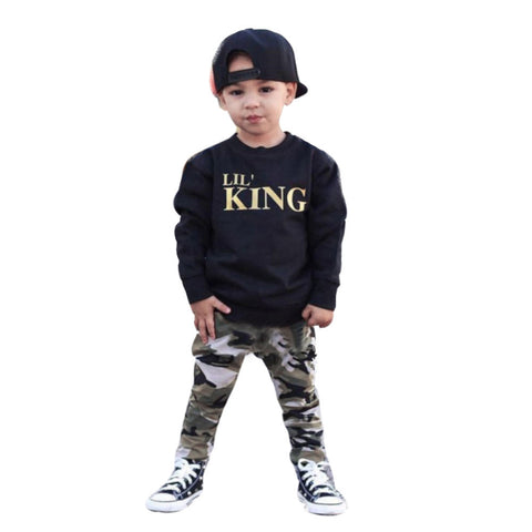 Toddler Kids Baby Boy Letter T shirt Tops+Camouflage Pants Outfit Set