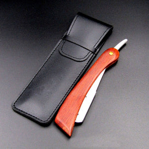 Red Wood Handle, Stainless Steel Straight Edge Shaving Razor Blade Barber Razor + Holder - KeepItPhresh.com
