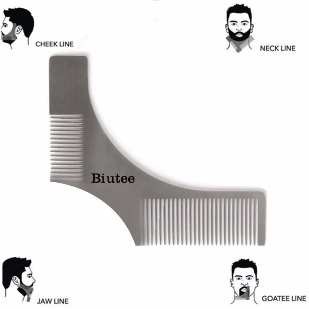 Double-Sided Stainless Steel Beard Shaping Template Tool with Comb and Leather Holder - KeepItPhresh.com