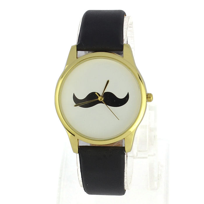 Unisex Moustache Faux Leather Watch