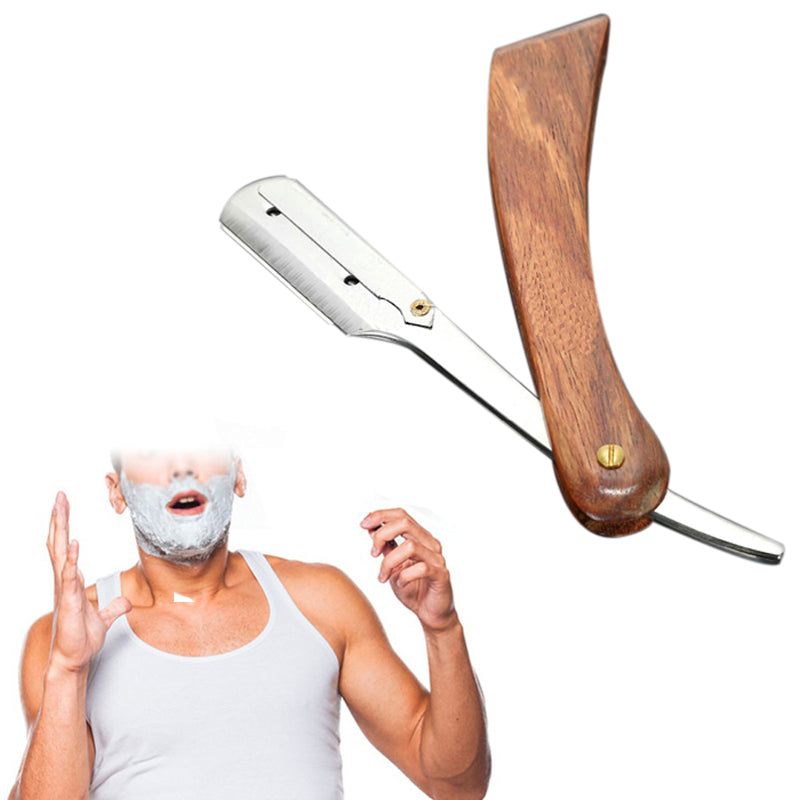 Rosewood Handle, Straight Edge Shaving Razor Blade Barber Razor + 10pcs Blades - KeepItPhresh.com