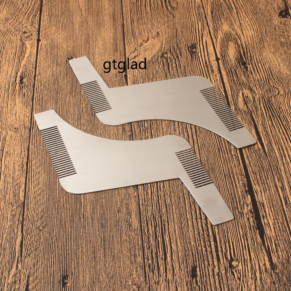 Double-Sided Stainless Steel Beard Shaping Template Tool with Comb - KeepItPhresh.com