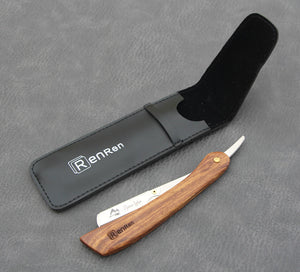 Wood Handle, Stainless Steel Straight Edge Shaving Razor Blade Barber Razor + 5pcs Blades or Holder - KeepItPhresh.com