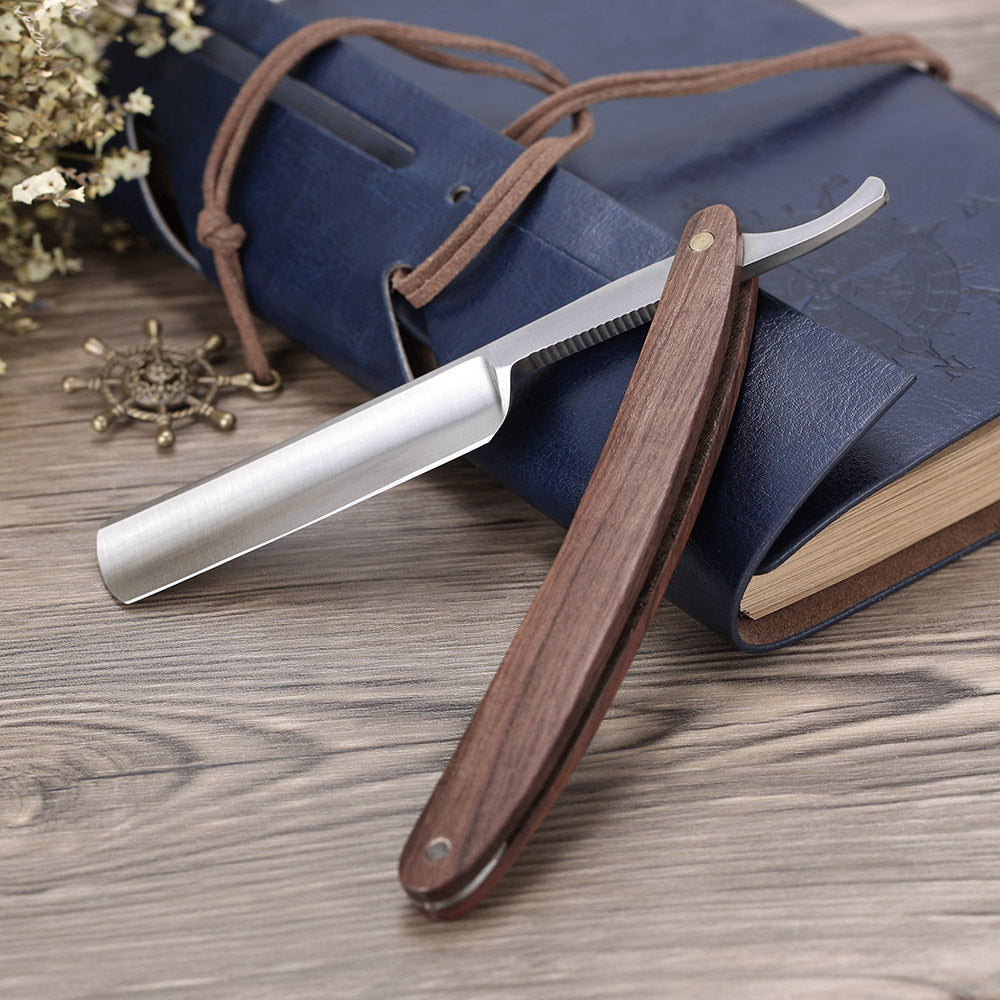 Antique Dark Wood Handle, Stainless Steel Straight Edge Shaving Razor Blade - KeepItPhresh.com