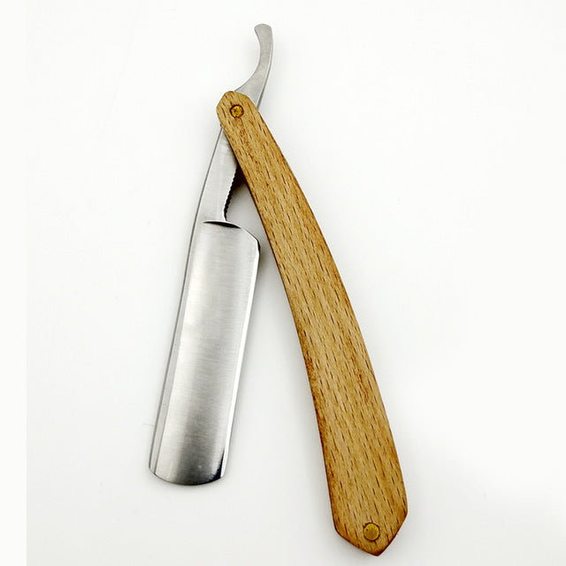 High Quality, Light Wood Handle, Hand Polished Carbon Steel Shaving Razor Blade - KeepItPhresh.com