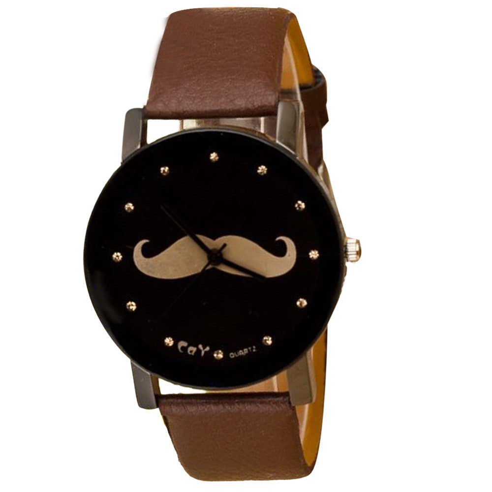 Imitation Leather Mustache Watch