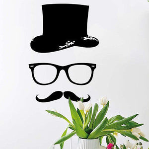 Large Vinyl Decal Hat Mustache Wall Sticker - KeepItPhresh.com