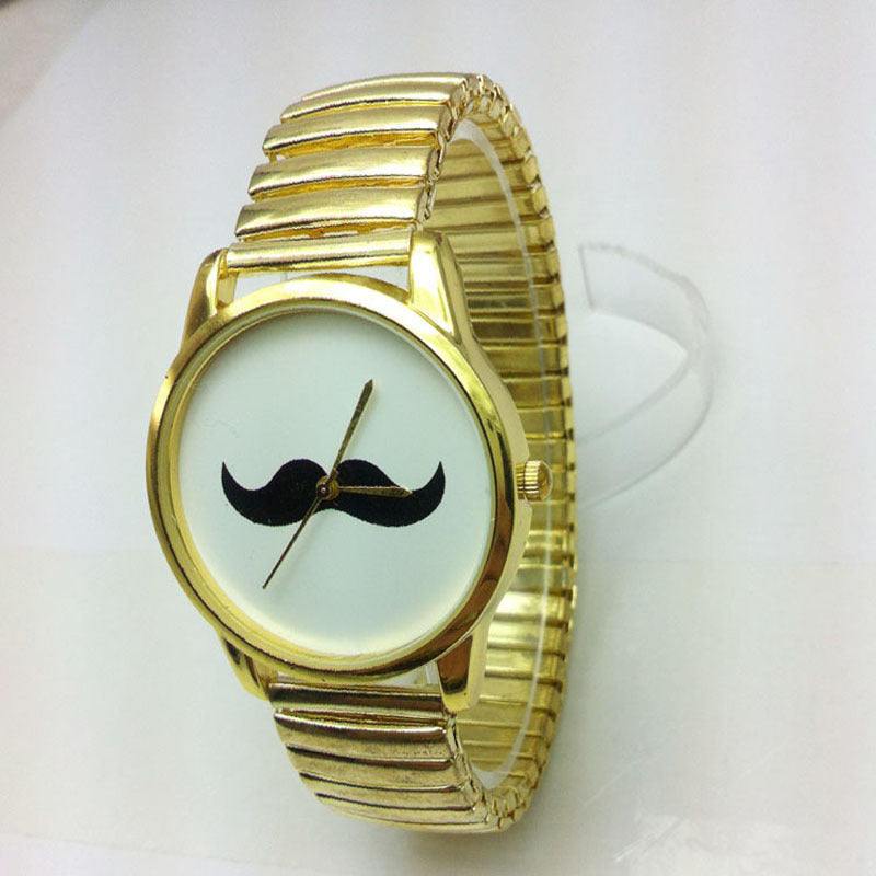 Gold Band Mustache Watch