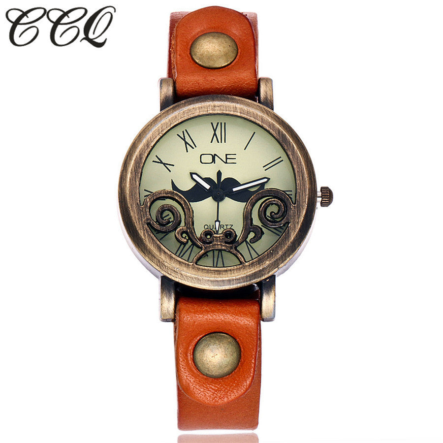 Vintage Cow Leather Mustache Watch