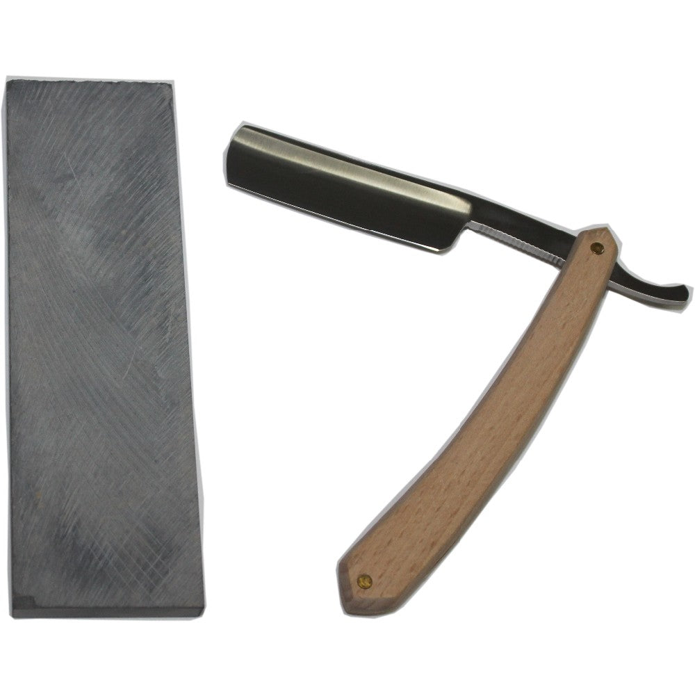 Wood Handle, Steel Shaving Razor Blade + Grind Stone - KeepItPhresh.com