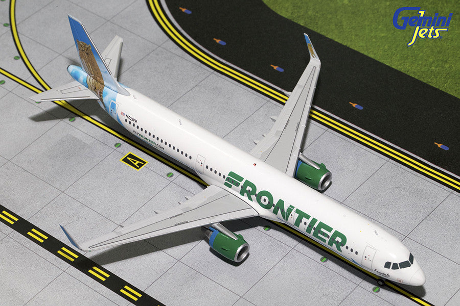 "Frontier Airlines Airbus A321 N705FR ""Ferndale the Pygmy Owl"" GeminiJets G2FFT611 Scale 1:200"