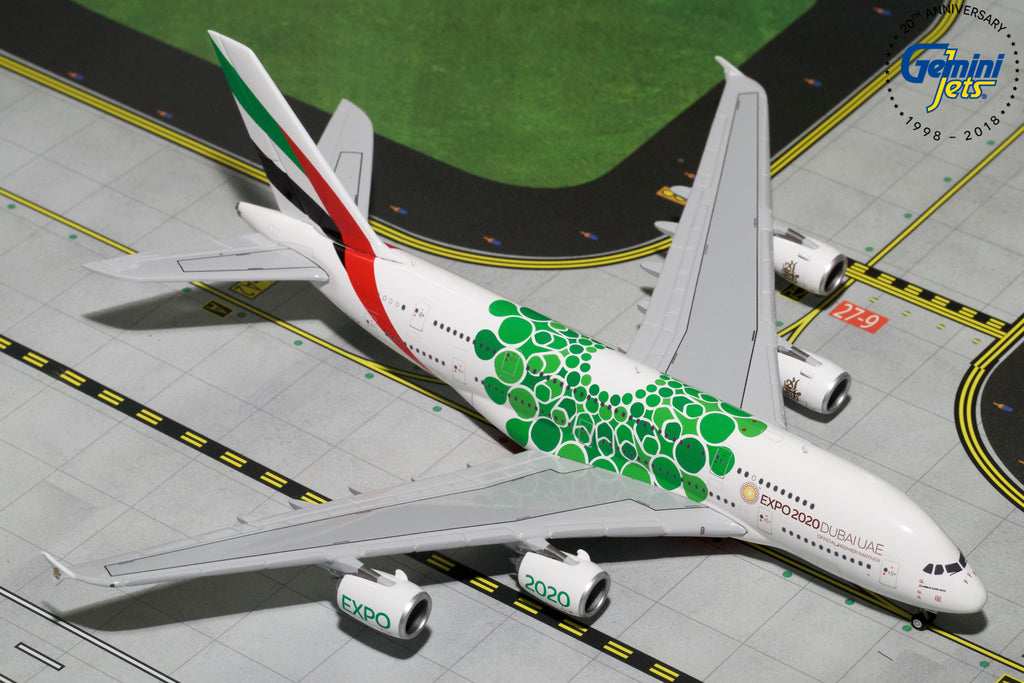 Emirates Airbus A380 A6-EEW EXPO 2020 Green GeminiJets GJUAE1788 Scale 1:400
