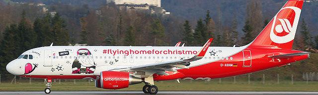 Air Berlin	Aibus A320 D-ABNM Fly Home For Christmas JC Wings LH2BER205 LH2205 Scale 1:200