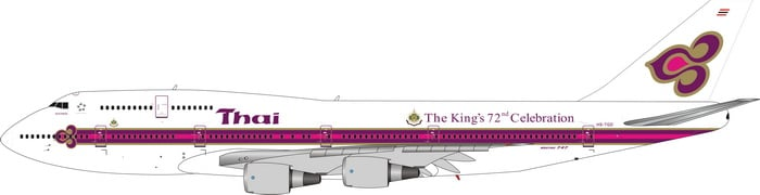 Thai Airways Boeing 747-300 HS-TGD Kings Logo Phoenix PH4THA2093 Scale 1:400