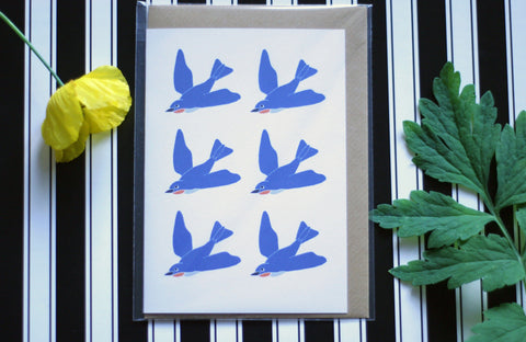 Swallows - Ecofriendly Blank Greeting Card with Vegan Envelope