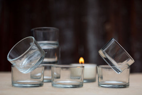 Reusable Glass Tealight Holders by Terralite - Jewel and Lotus