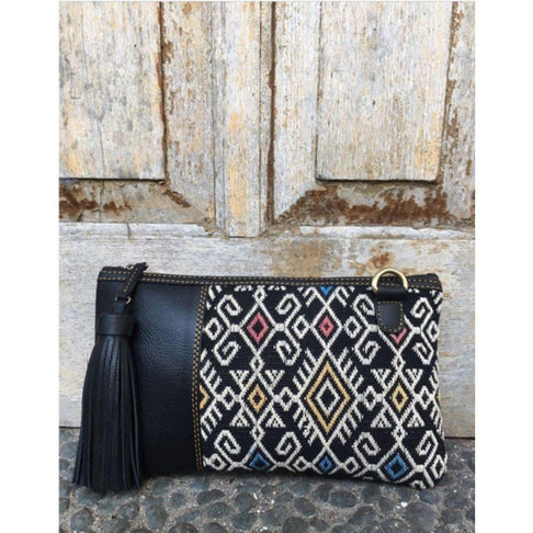 HANDWOVEN IKAT LEATHER CLUTCH IN BLACK by Kisaku - Jewel and Lotus
