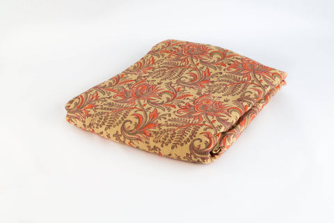 Fitted Bed sheet: Red and mustard jaal