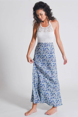 Wanderer Crochet Maxi Dress | Blue
