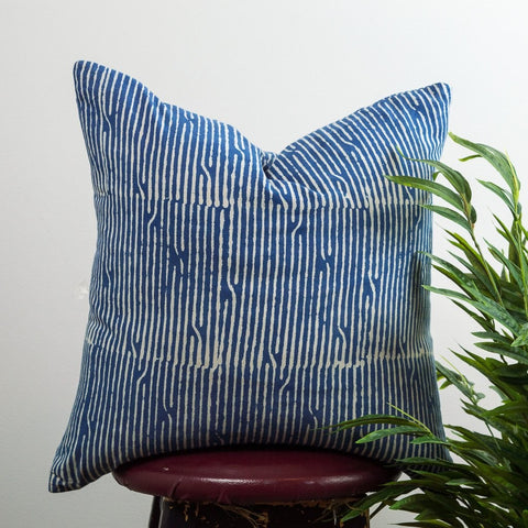 Broken Lines Indigo Cushion Cover by Shree Roopam - Jewel and Lotus