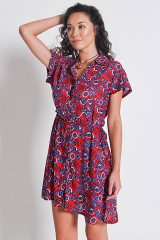 Shirt Dress with Belt | Red Floral