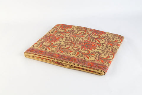 Flat Bed sheet: Red jaal on beige
