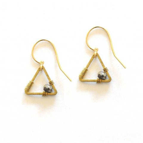 Tiny Triangle & Stone Earrings by The Didi Jewelry Project - Jewel and Lotus