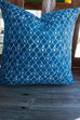 Moroccan Lattice Pattern Indigo Cushion Cover by Shree Roopam - Jewel and Lotus