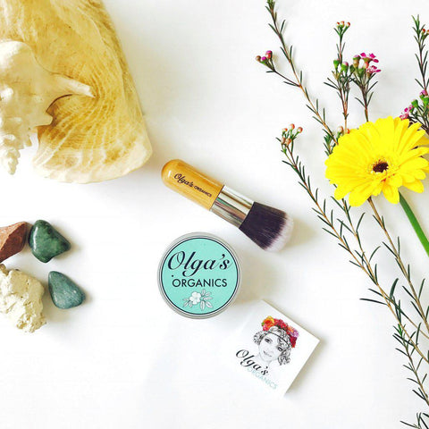 Bundle - Loose Face Powder and Vegan Kabuki Brush by Olga's Organics - Jewel and Lotus