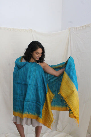 Silk Blue and Yellow Shawl