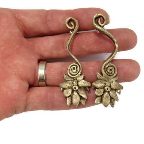 Bronze Lotus Flower Earrings