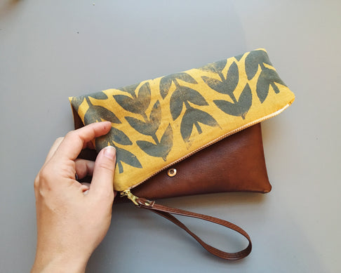 Vegan Leather Folded Clutch, Athens Print by Jenna Aliyah - Jewel and Lotus