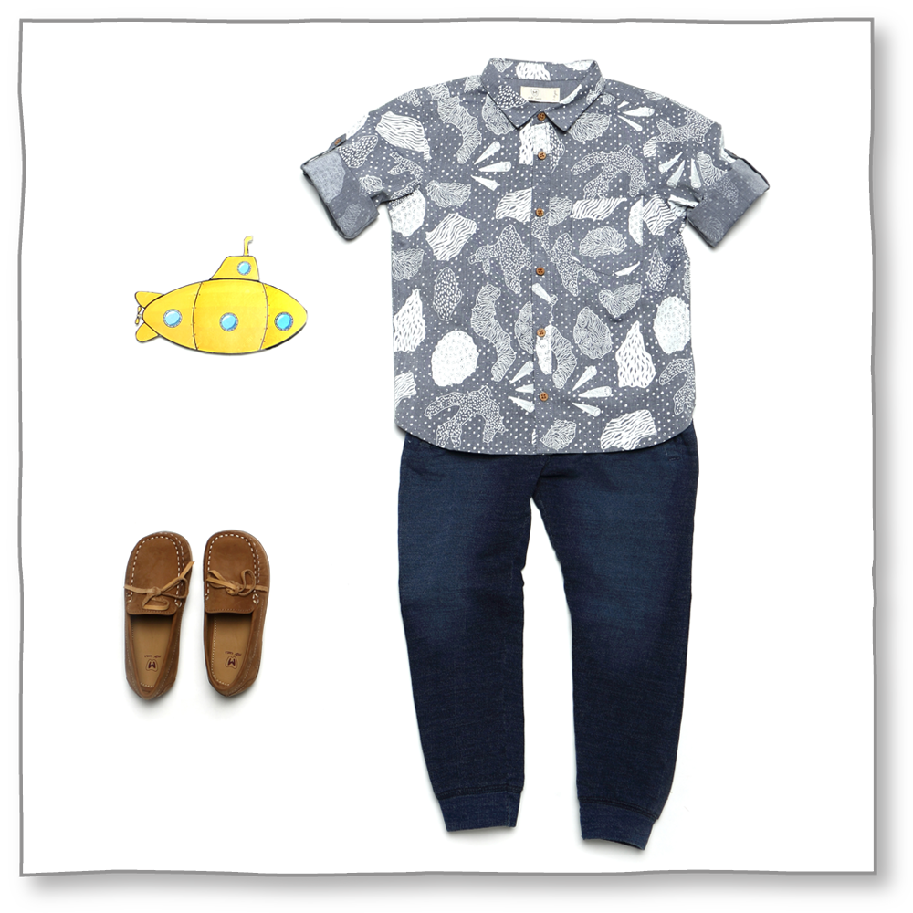 Beach Vibes | Printed Shirt by Brown Boy - Jewel and Lotus