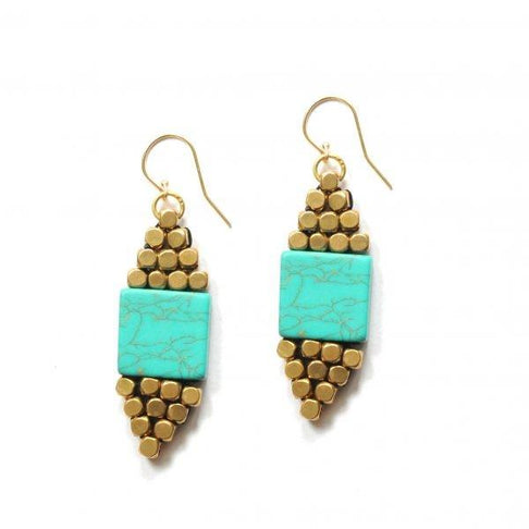 Bold Brass & Turquoise Woven Diamond Earrings by The Didi Jewelry Project - Jewel and Lotus