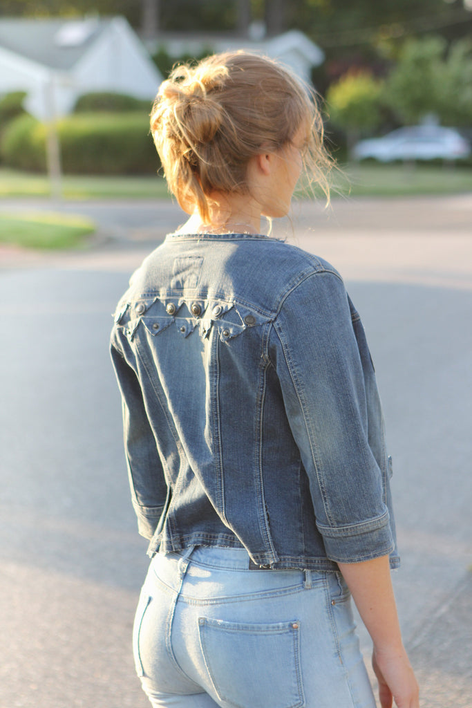 All Apart - Upcycled Denim Jacket by AndAgain - Jewel and Lotus