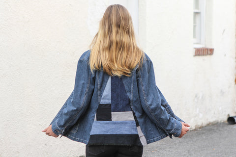Triangulation - Upcycled Denim Jacket by AndAgain - Jewel and Lotus