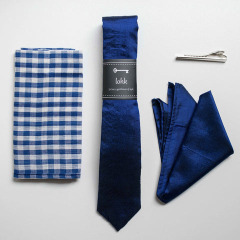 Lohk Handmade Silk Skinny Tie and Pocket Square by Khmer Creations - Jewel and Lotus