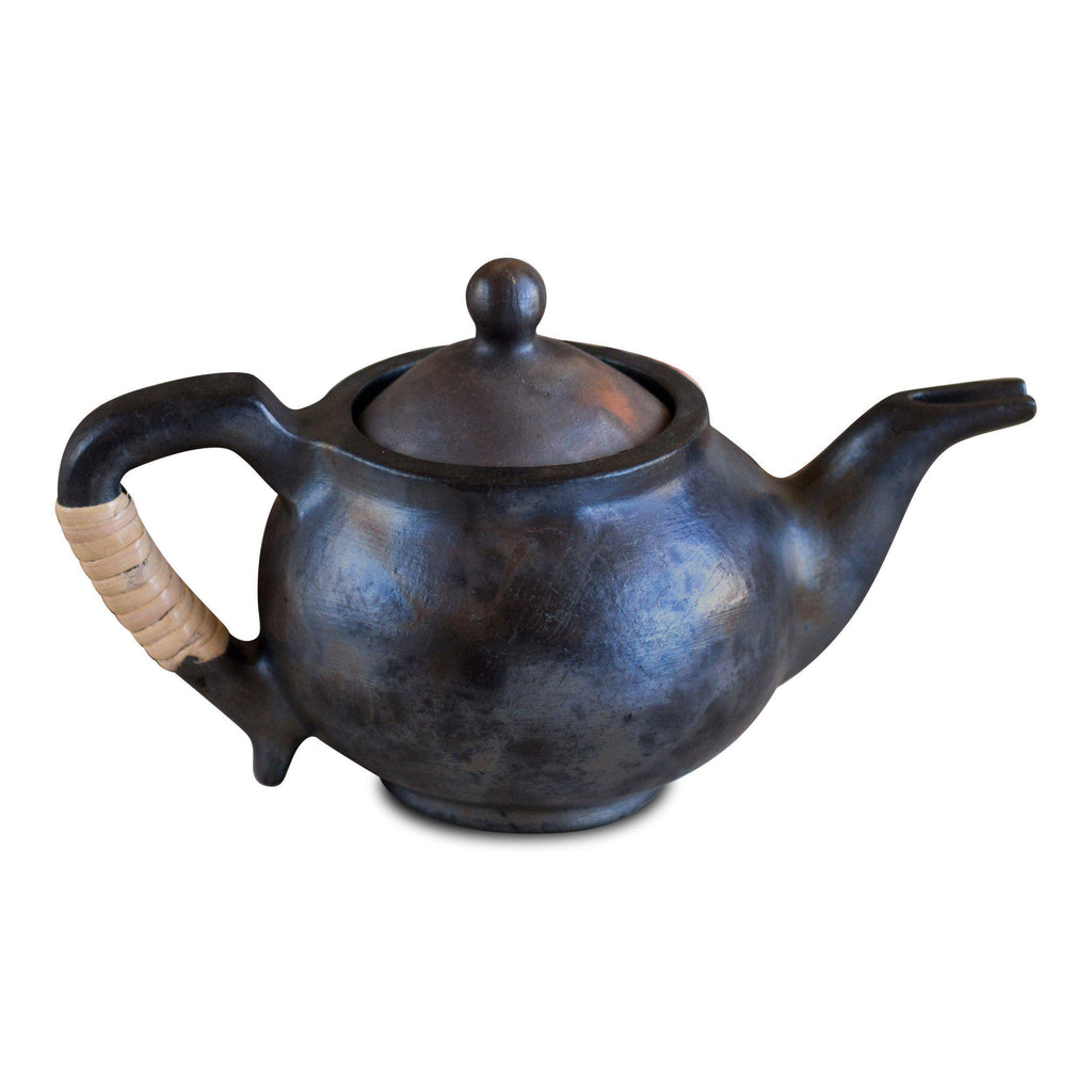 "Artisan Handmade Black Clay Big Teapot – ""Presley"" by Terra Klay - Jewel and Lotus"